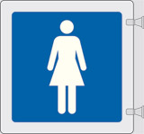 Double-sided plexiglass flag sign cm 12x12 ladies toilets - including assembling set