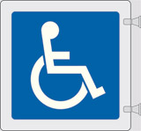Double-sided plexiglass flag sign cm 12x12 disabled toilet - including assembling set