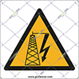 Adhesive sign cm 4x4 electrical hazard