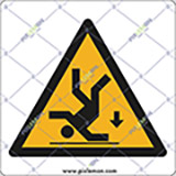 Adhesive sign cm 4x4 caution fall