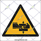 Adhesive sign cm 4x4 caution risk of trapped limbs