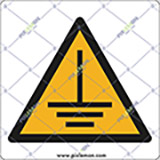 Adhesive sign cm 4x4 caution earth ground