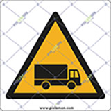 Adhesive sign cm 4x4 caution vehicle traffic