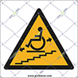 Adhesive sign cm 4x4 wheelchair stair platform lift in motion