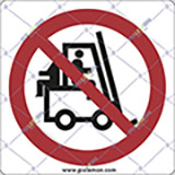 Adhesive sign cm 4x4 riding on forks is stricktly prohibited