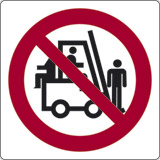 Adhesive sign cm 4x4 riding or lifting on forks is stricktly prohibited