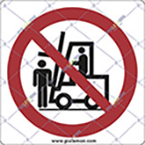 Adhesive sign cm 4x4 do not step under fork lifts