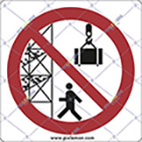 Adhesive sign cm 4x4 stand clear of scaffoldings and suspended loads