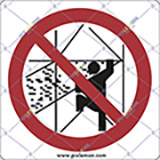 Adhesive sign cm 4x4 do not climb on or jump off scaffolding