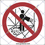 Adhesive sign cm 4x4 it is forbidden to throw tools down of scaffolding