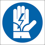 Adhesive sign cm 4x4 wear insulating gloves