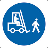Adhesive sign cm 4x4 forklifts keep to walking pace