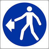 Adhesive sign cm 4x4 pedestrians on the left