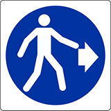Adhesive sign cm 4x4 pedestrians on the right