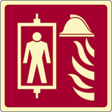 Luminescent adhesive sign cm 12x12 fire fighting lift