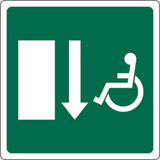 Adhesive sign cm 12x12 disabled fire exit down