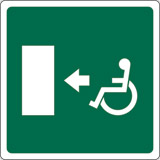 Adhesive sign cm 12x12 disabled fire exit left