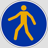 Adhesive sign diameter cm 20 pedestrians must use this route anti-skid floor sign