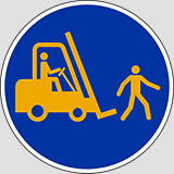 Adhesive sign diameter cm 20 pedestrians and fork lift trucks must use this route anti-skid floor sign
