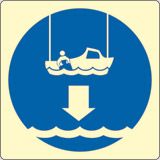 Luminescent adhesive sign cm 15x15 lower rescue boat to water