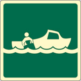 Luminescent adhesive sign cm 15x15 rescue boat