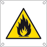 Aluminium sign cm 4x4 flammable substance