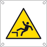 Aluminium sign cm 4x4 danger drop