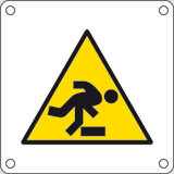 Aluminium sign cm 4x4 danger beware of step