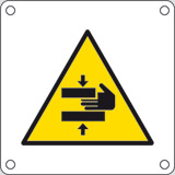 Aluminium sign cm 4x4 caution risk of trapped hands