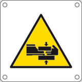 Aluminium sign cm 4x4 caution risk of trapped limbs