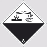 Adhesive sign cm 10x10 danger class 8 corrosive substances
