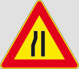 Iron sign with reflective adhesive class 1 side cm 90 road narrows left