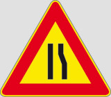 Iron sign with reflective adhesive class 1 side cm 90 road narrows right