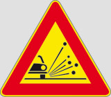 Iron sign with reflective adhesive class 1 side cm 90 unstable material on road surface