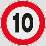Iron sign with reflective adhesive class 1 diameter cm 60 10 maximum speed limit 10km/h
