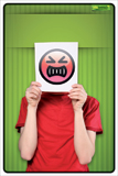 Sign smile angry man including assembling set - write your message and, for example, hang your sign at the door or on furniture up