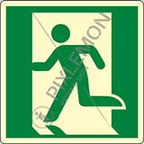 Luminescent adhesive sign cm 12x12 emergency exit left hand