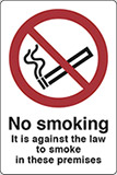 Self ahesive vinyl 40x30 cm no smoking it is against the law to smoke in these premises