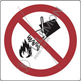Adhesive sign cm 4x4 do not extinguish with water