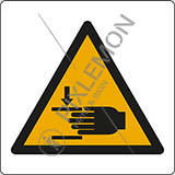 Adhesive sign cm 4x4 warning: crushing of hands