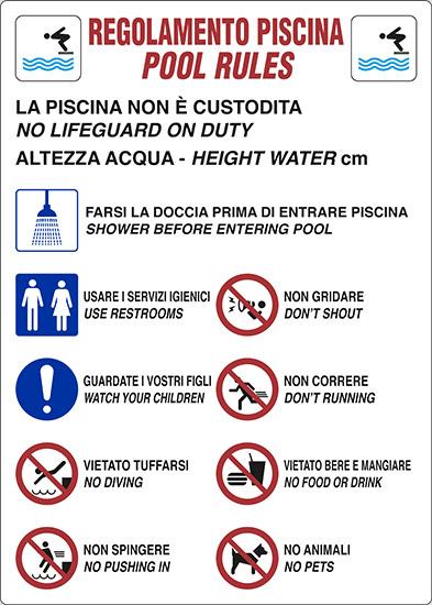 Cartello REGOLAMENTO PISCINA POOL RULES | Pixlemon